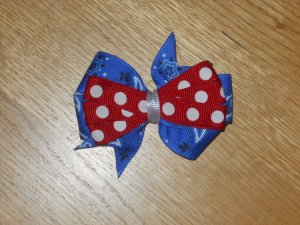Blue Bandana Paisley & Red & White Polka Dot 4th of July Hair Bow