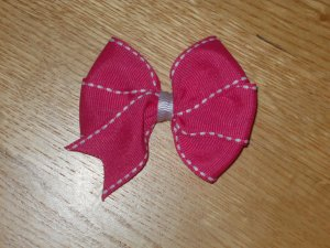 *Pretty In Pink* Hot Pink With White Hemming Hair Bow