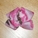 Pink Army Camo Camoflauge Military Hair Big & Fluffy Hair Bow