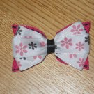 Black & Hot Pink Flower Hair Bow Clip