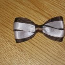 Brown & Baby Pink Satin Hair Bow Clip