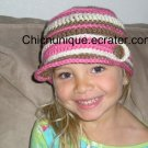 Adorable City Girl Brim Cap *Pink, Off White, & Brown* **Any Size Available**