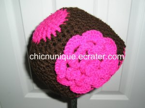 **Boutique** Hot Pink & Brown Hat & Triple Hot Pink Flower *Any Size Available*
