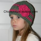 Olive Green & Rasberry Pink Hat & Flower *Any Size Available*