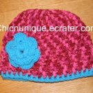 Boutique Turquoise Blue & Pink Candy Print Crochet Hat & Triple Flower *Any Size Available*