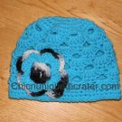 Gorgeous Boutique Turquoise Blue & Zebra Print Hat With Triple Flower *Any Size Available*
