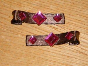 New!!  Set of Brown & Pink Princess Diamond Gem Clips
