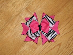 Boutique Hot Pink & Black Zebra Print Hair Bow