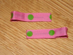 New!! Set of Pink With Green Polka Dot Hair Clips