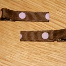 New!!  Set of Brown With Pink Polka Dot Hair Clips
