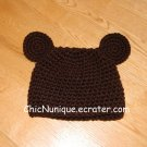 Handmade Crochet Custom Brown Bear Hat ***Newborn-12 Month Sizes***