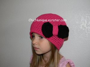 Adorable Custom Handmade Pink Chic Crochet Bow Hat *Any Size Available*