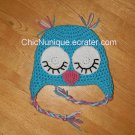 ◘ Custom Crochet Girl's Sleepy Sleeping Owl Earflap Hat •All Sizes/Colors Available•