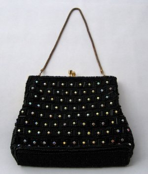 Vintage Hand-Beaded Black Purse With Rhinestone Accents - Perfect With A Little Black Dress