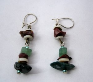 Handmade Drop Earrings - Silver and Semi-Precious Stones