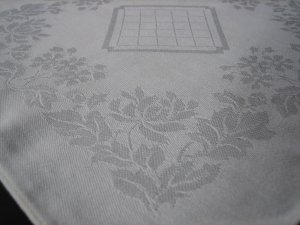 Vintage Ivory Cotton Satin Weave Damask Napkins - Set of 4 - For Sewing and Crafts Projects