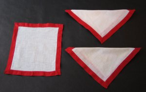 Vintage Linen Tea Napkins With Red Border - Set of 3 - Authentic MidCentury Style