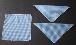 Vintage Cotton Hankies or Napkins - Blue and White Check With Crochet Edging - Set of 3