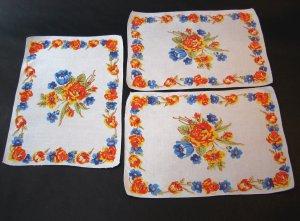 Vintage Floral Print Linen Napkins - Set of 3 - Bright Colors - Authentic MidCentury Style