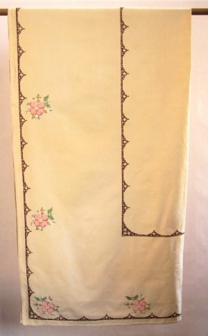 Vintage Embroidered Cotton Tablecloth - Cheerful Floral Motif With Cross Stitch Border