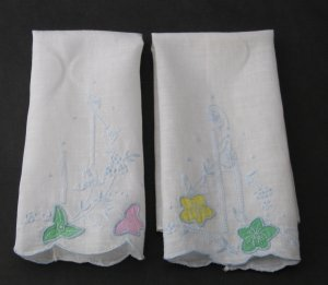 Vintage Guest or Fingertip Towels - Set of 4 - White Linen With Pastel Embroidery and Applique