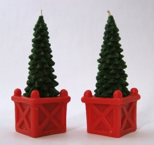 Tree-Shaped Christmas Candles - Set of 2 - Charming Decorative Accent for the Holidays