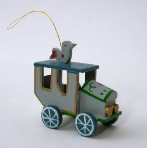 Vintage Wooden Car Christmas Ornament - Folksy Horseless Carriage With Hand-Painted Decoration