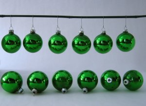 Vintage Green Glass Globe Christmas Ornaments - Set of 12 - Made in USA by Holly