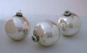 Vintage Silver Glass Globe Christmas Ornaments - Set of 3 - Made in USA by Holly