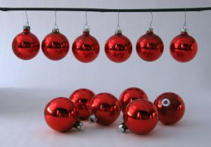 Vintage Red Glass Globe Christmas Ornaments - Set of 12 - Made in USA by Holly