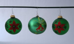 Vintage Green Glass Globe Christmas Ornaments With Varied Decoration - Set of 3 - From Germany