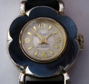 Vintage Sheffield Riviera Ladies Watch - MidCentury Mechanical Wristwatch With Flower Face