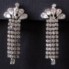 Vintage Waterfall Earrings - Sparkling Rhinestones in Cascading Strands - MidCentury Costume Jewelry