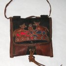 Vintage Peruvian Pouch - Handmade of Leather and Wool by Quechua People - Very Rare