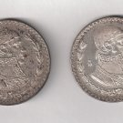 Mexican One Peso Coins Issued 1960-61 - Set of 2 - Old Silver Currency from Mexico