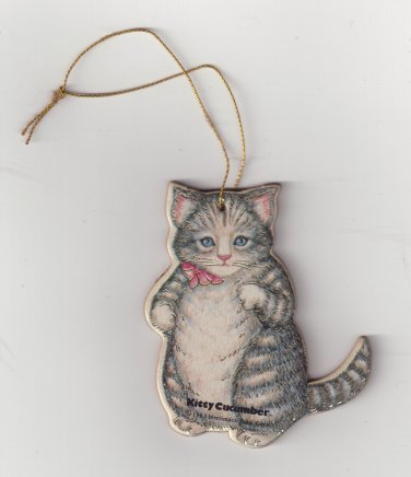 Vintage Printed Cat Christmas Ornaments - Set of 2 - Tree Decoration and Stocking Stuffer