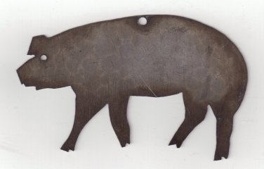 Vintage Handmade Pig Christmas Ornament - Crafted From Reclaimed Metal
