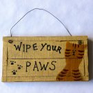 Hand Made Wood Wipe Your Paws Sign With Cat Motif – Rustic Wire Hanger