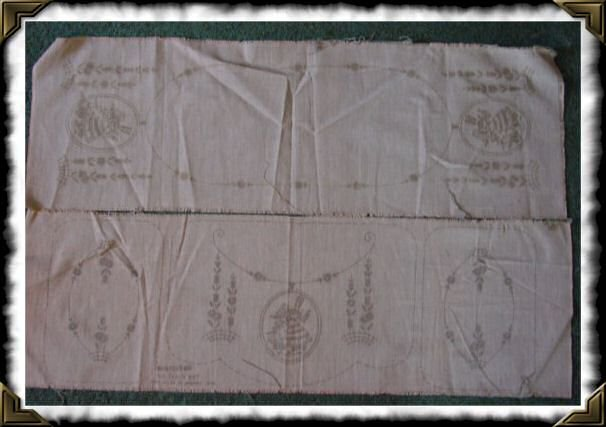 Vintage Vogart 229 chair set table runner stamped linen