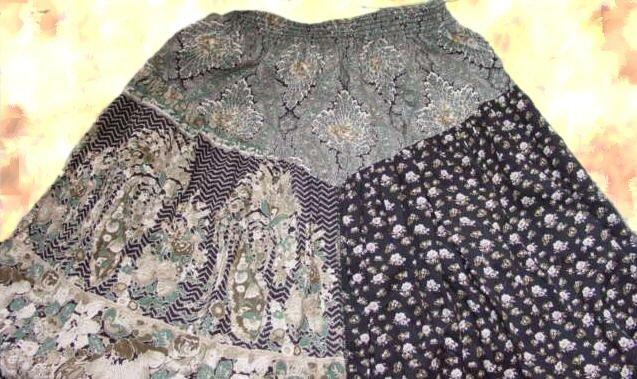 Boho Vintage Carole Little St Tropez patchwork skirt S