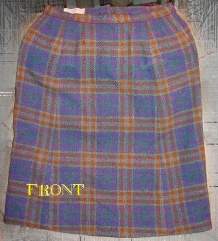 Vintage 1960's PENDLETON Blue Gold Plaid skirt w28