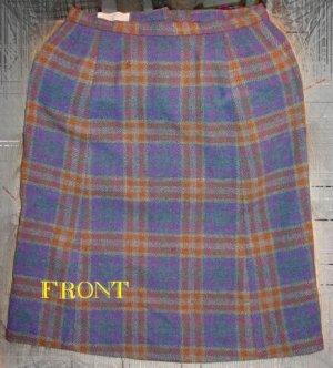 Vintage 1960's PENDLETON Blue Gold Plaid skirt w28
