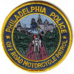 PHILADELPHIA POLICE OFF ROAD MOTORCYCLE PATROL UNIFORM PATCH COPS CSI GUNS PISTOL RIFLE LAWMAN