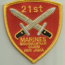 21ST MARINES USMC MILITARY PATCH INFANTRY WAR SOLDIER GUAM IWO JIMA BOUGAINTLLE