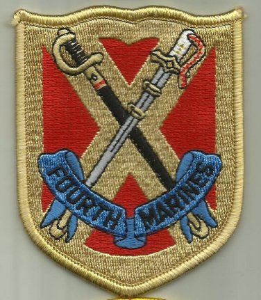 FOURTH MARINES REGIMENT USMC PATCH CAMP SCHWAB OKINOWA JAPAN INFANTRY SOLDIER