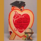 Vintage Valentines Card TEACHER School GRADUATE Stand-Up