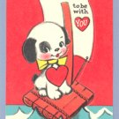 Vintage VALENTINE CARD Dog on Raft CROSS OCEAN Pop-up