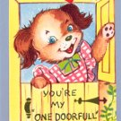 Vintage VALENTINE CARD Dog PINNAFORE One Doorfull