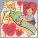 Vintage VALENTINE CARD Fold-out ON SLIDE Don't Slip Up