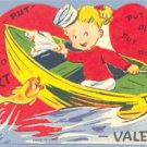 Vintage Valentine GIRL Motor Boat FISH Put-Put-Putting